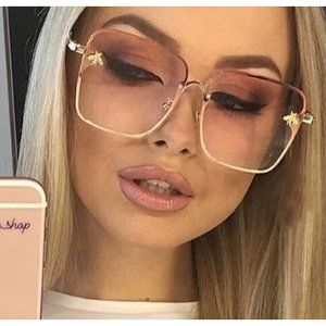Pink + Gold Oversized Square Rimless Sunglasses